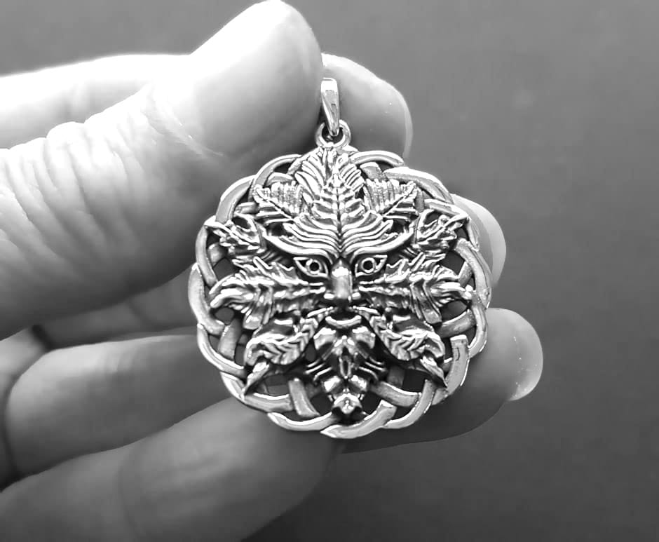 mens green man necklace