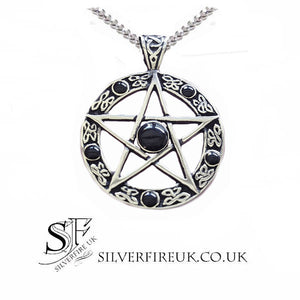 mens pentacle necklace sterling silver