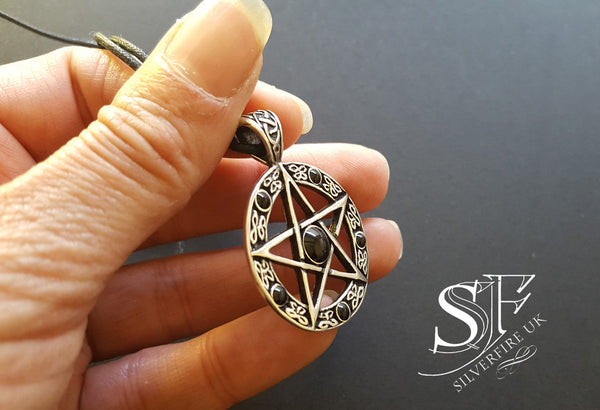 Mens Black Pentagram Necklace Silver Pentagram Mens