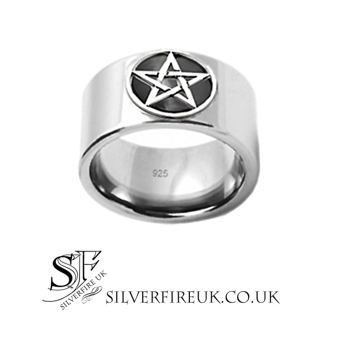 Mens Wide Band Pentagram Ring, Enamel & Silver, Handmade