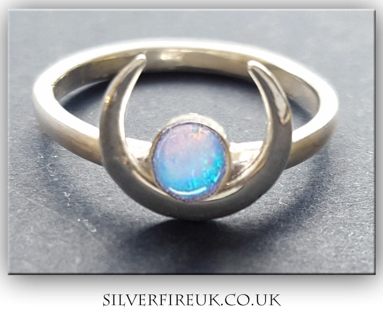 Crescent Moon ring With opal