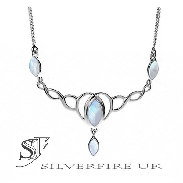 Celtic Necklace Rainbow Moonstone Teardrops, Sterling ...