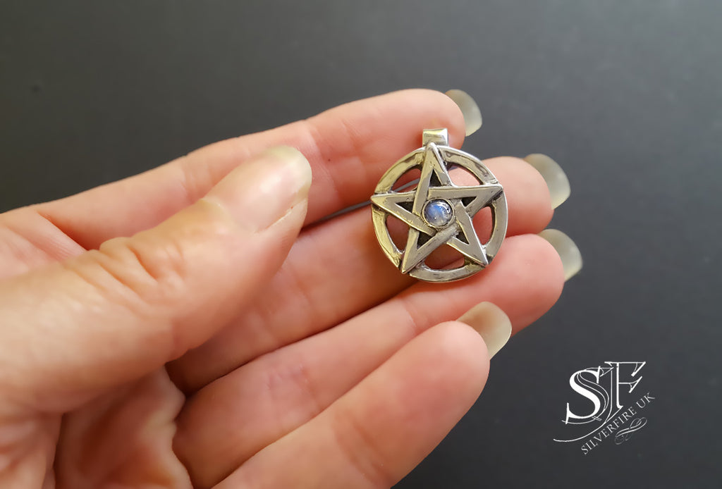 moonstone pagan jewellery, pentacle