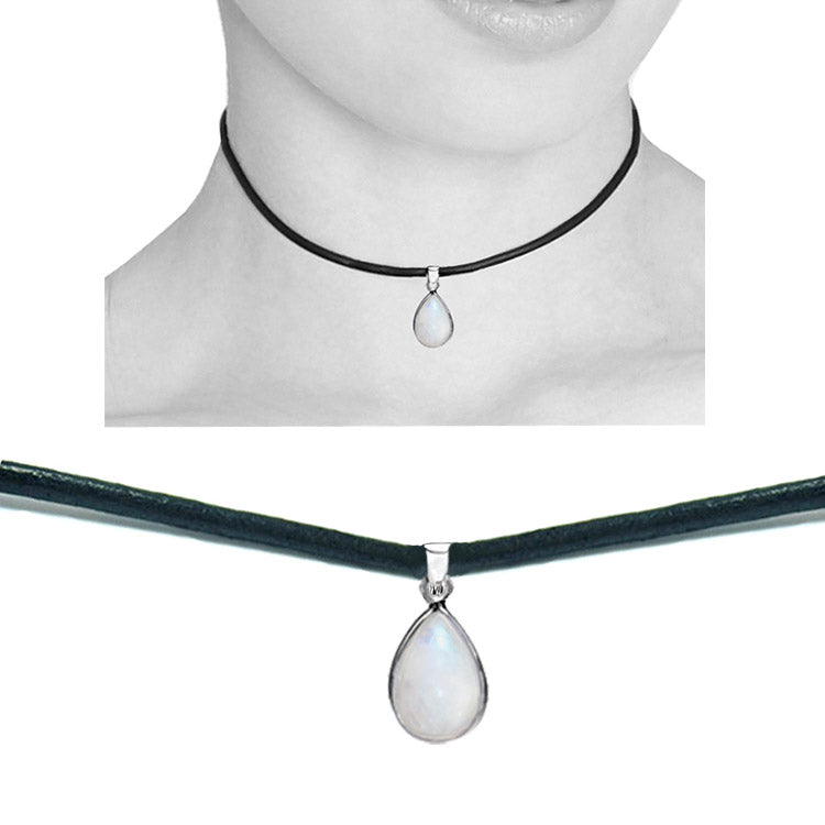 Moonstone teardrop leather choker