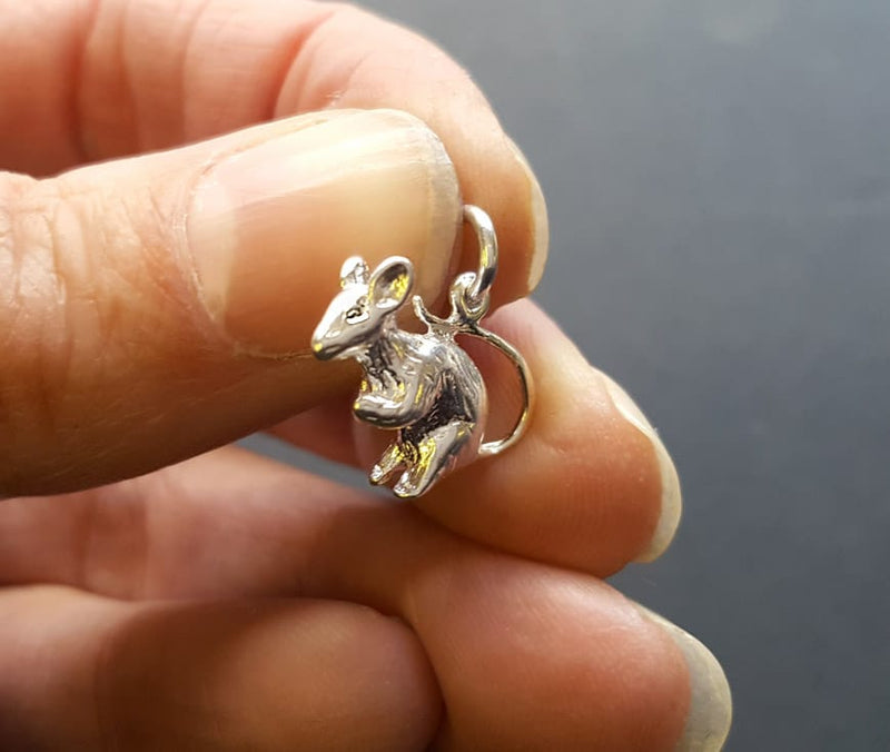silver mouse necklace
