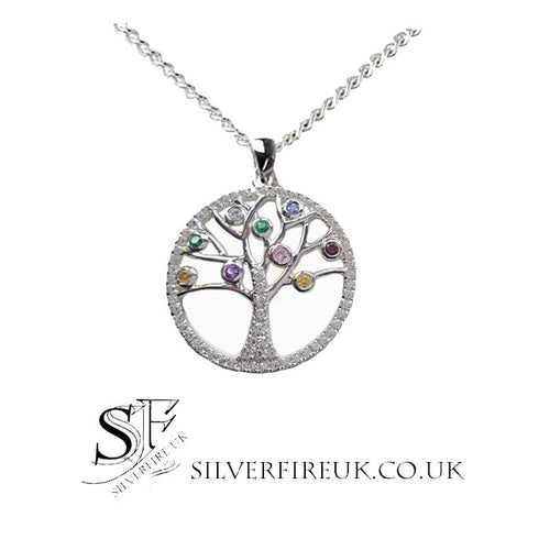 Tree Of Life Pendant Necklace Multi Colour