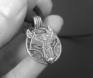 odin viking wolf necklace