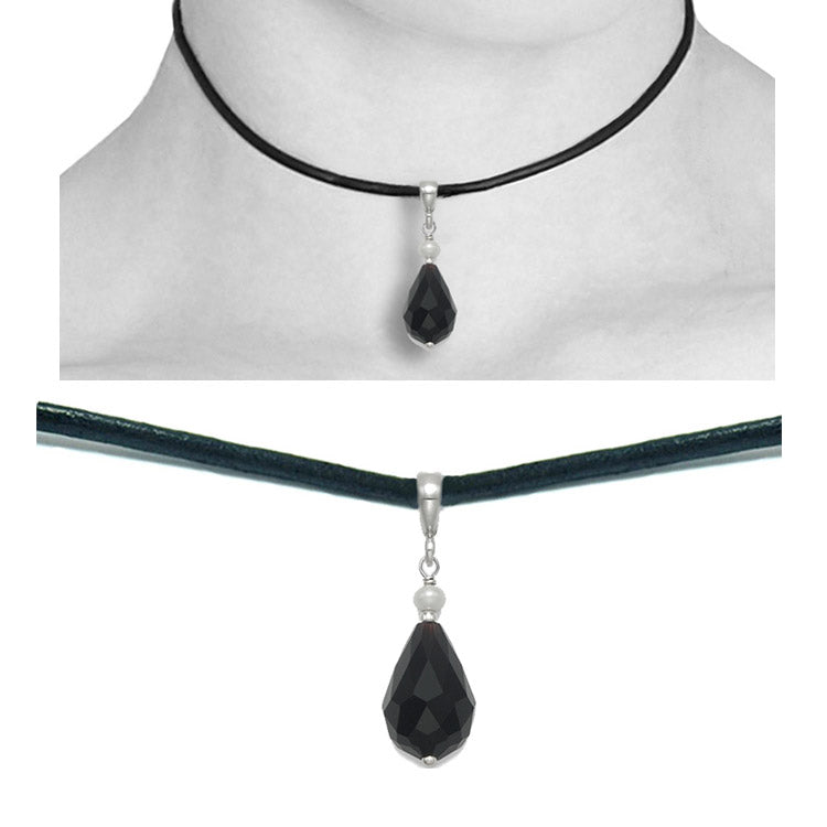 onyx pear drop leather choker