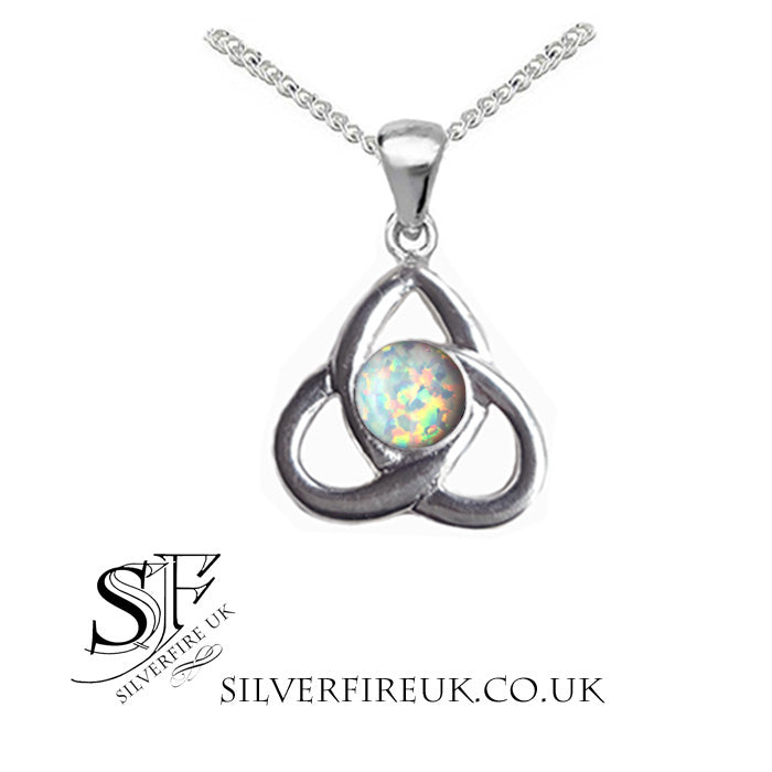 opal celtic triangle necklace