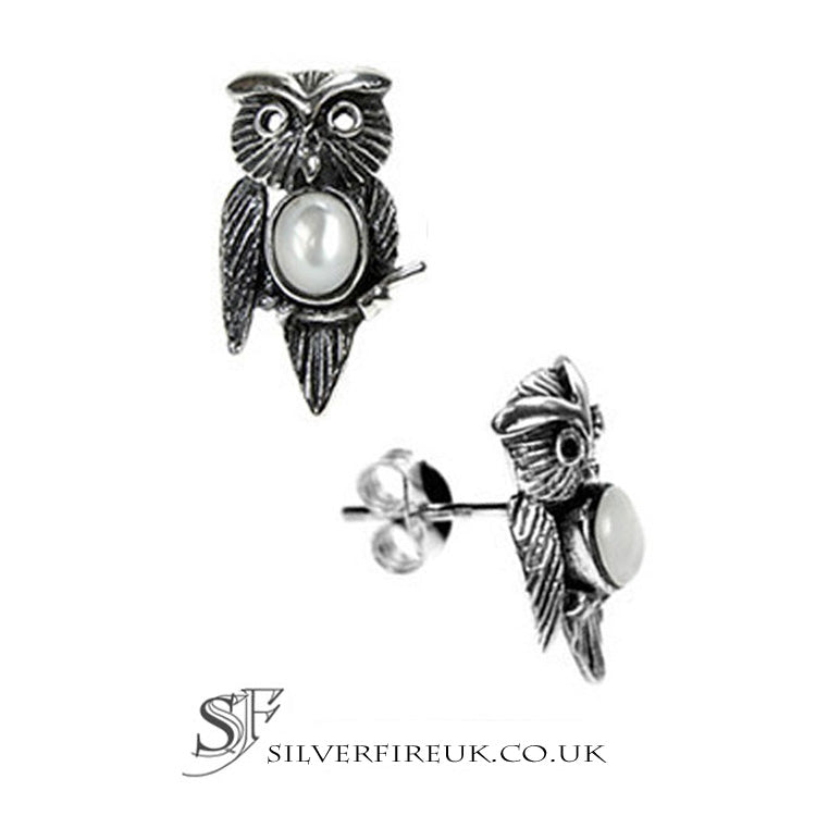 owl earrings mother of pearl