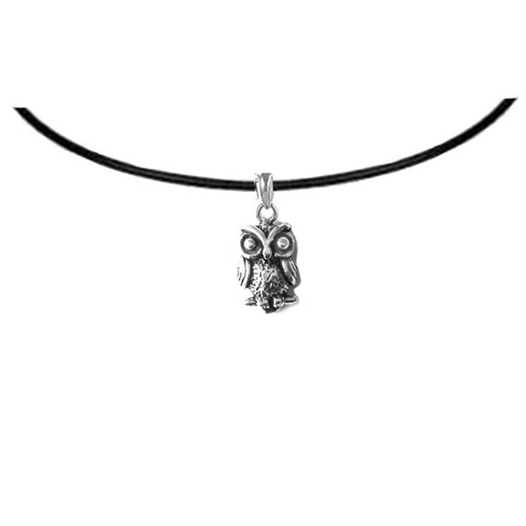 owl leather choker