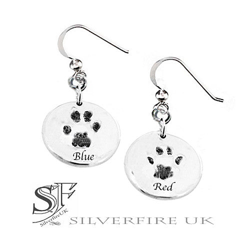 Pet Paw Prints In Silver Charm Earrings