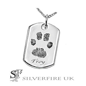 Pets Paw Print Dog Tag Necklace