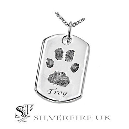 personalised dog tag paw print pendant