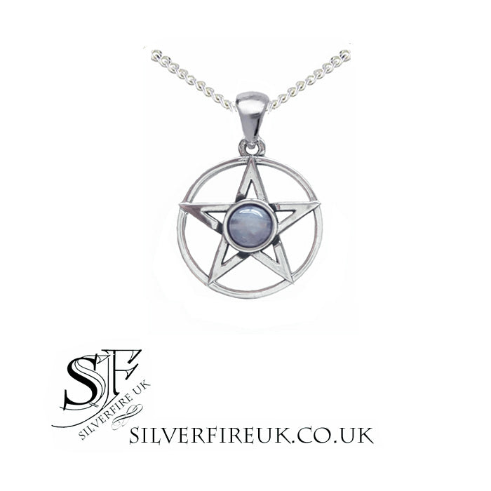 moonstone pentacle pagan necklace