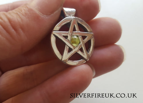 Pentagram Pendant with Peridot Gemstone