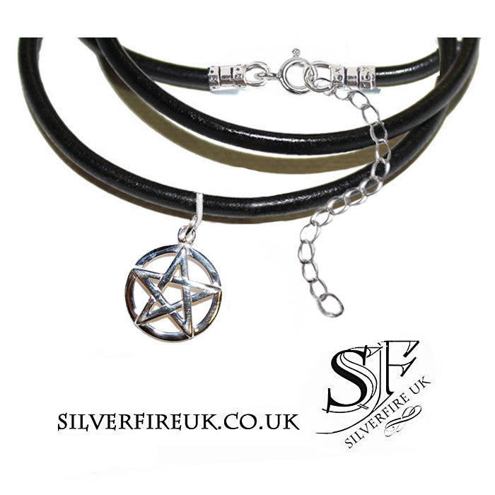 Pentagram Choker, Pentacle Leather choker necklace