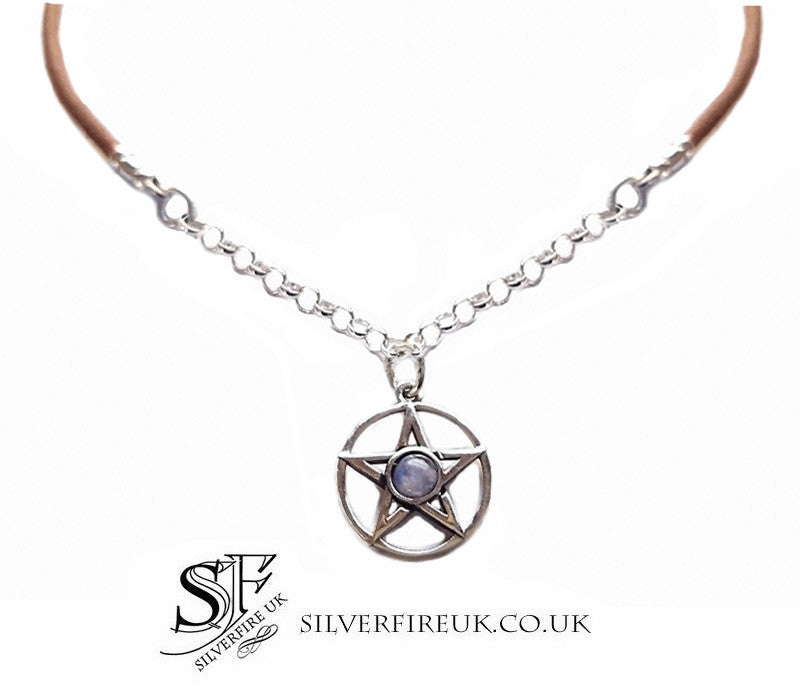 Pentagram Choker Necklace Moonstone, Leather & Sterling Silver