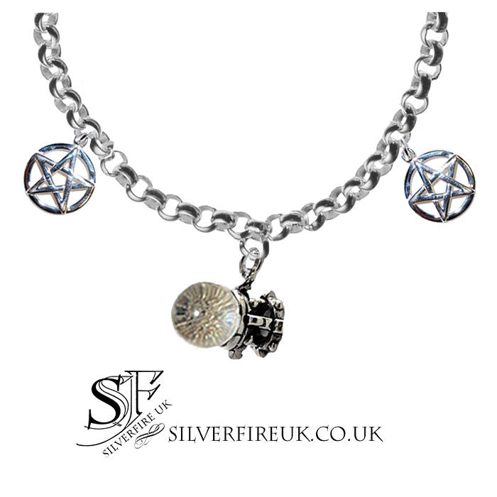 Pentagram Crystal Ball Charm Bracelet, Witch Bracelet