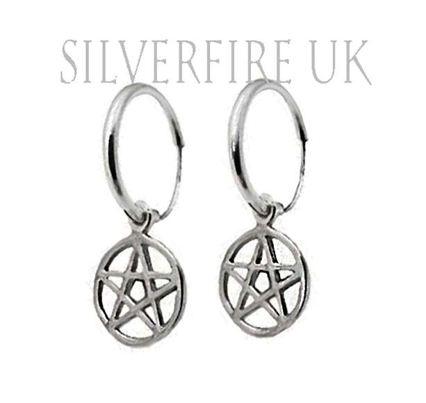 Pentagram Hoop Earrings, Pentagram Jewellery