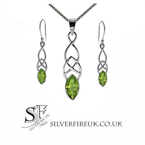 peridot jewellery set, celtic