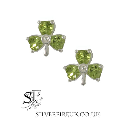 peridot shamrock earrings