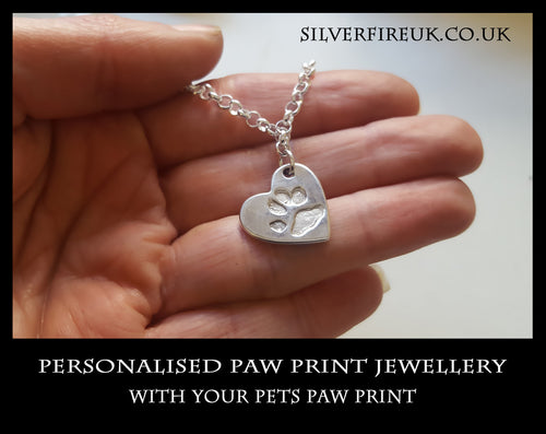 Personalised pet paw print jewellery