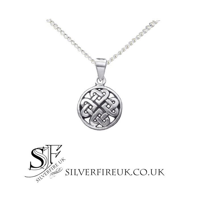 Round celtic love knot necklace sterling silver entwined hearts new round celtic love knot necklace unisex aloadofball Image collections