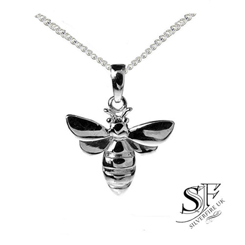 Silver bumblebee necklace, bee