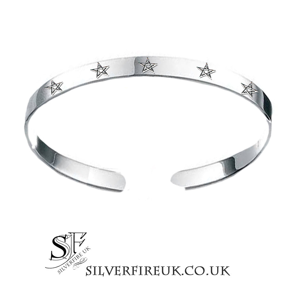 Silver Stars Pentagram Bangle