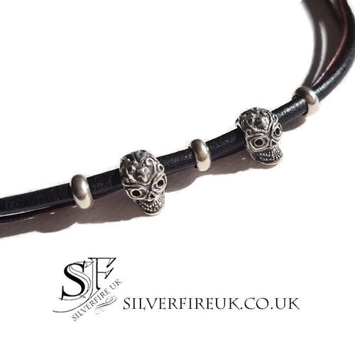Skull Bracelet Leather and Silver