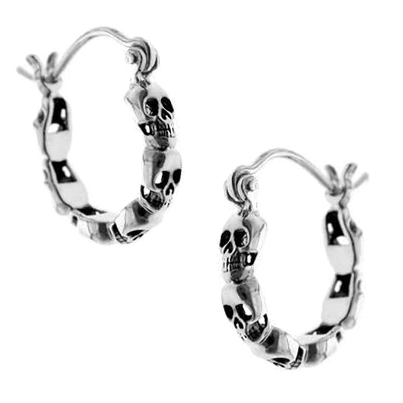 skull creole hoop earrings