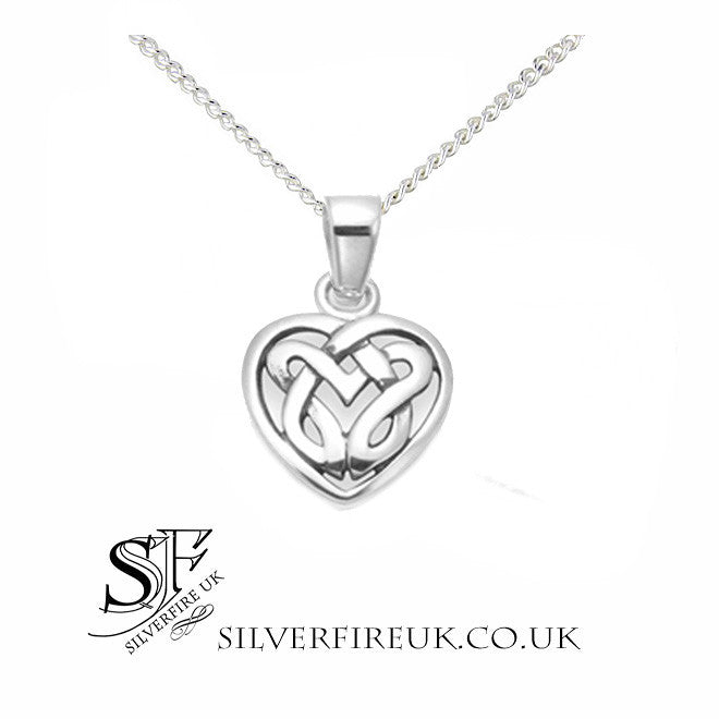 Small celtic heart pendant with chain dainty celtic heart necklace small celtic heart necklace love knots aloadofball Images