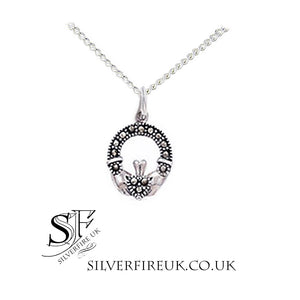 small marcasite claddagh necklace