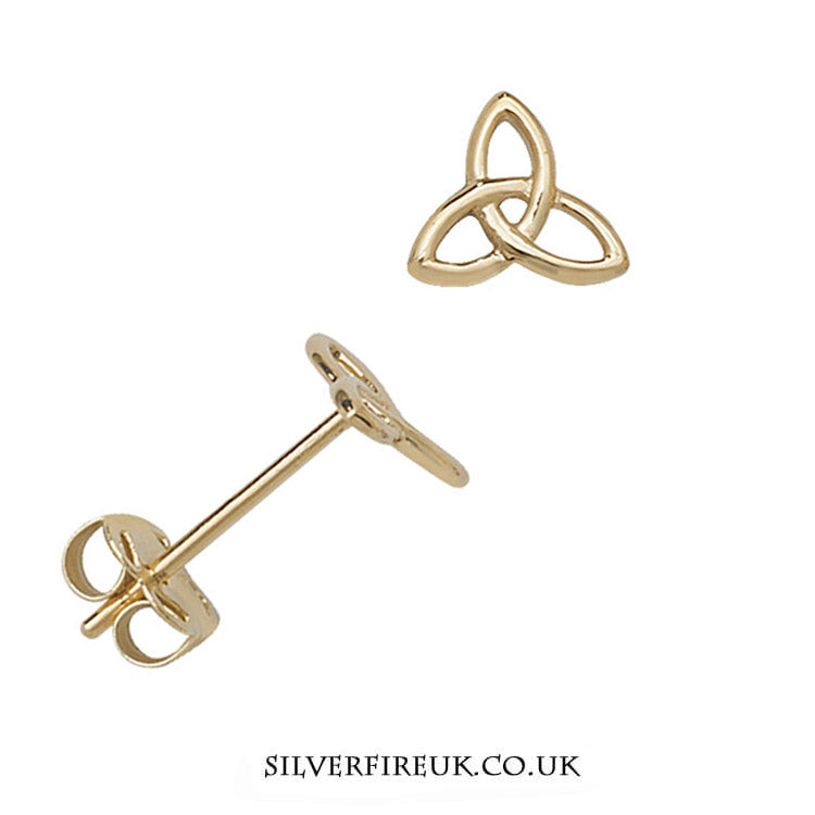 Small Gold Trinity Earrings, 9ct Gold