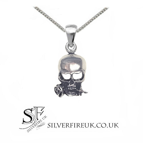 small skull rose necklace