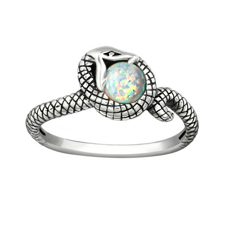 NEW: Snake Ring With Pin Fire Opal