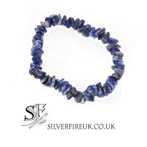 Sodalite Gemstone Chip Bracelet (elasticated)