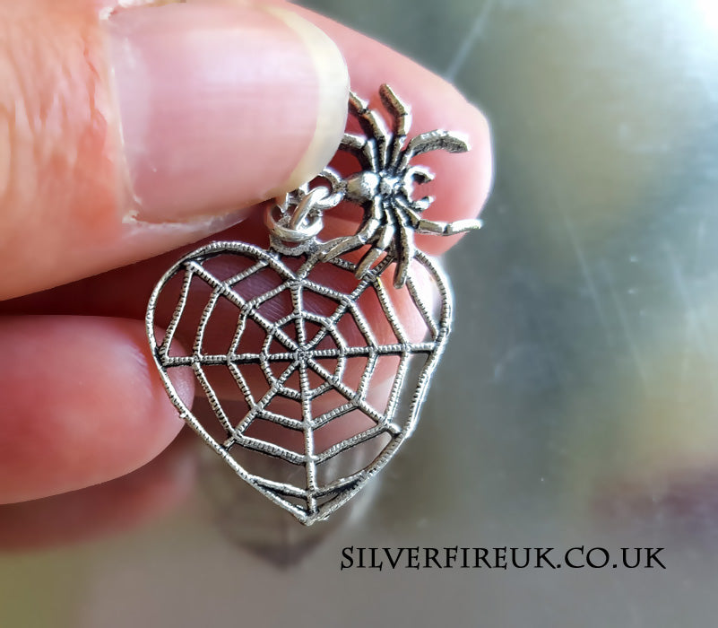 spider web heart necklace