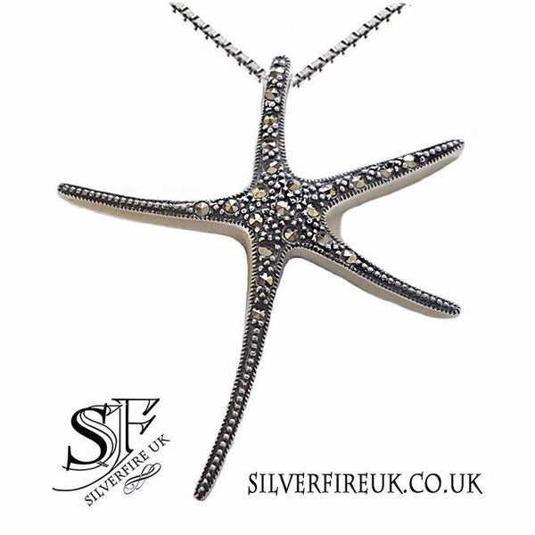 large starfish necklace marcasite gemstones
