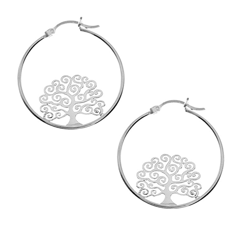 large tree of life hoop earrings