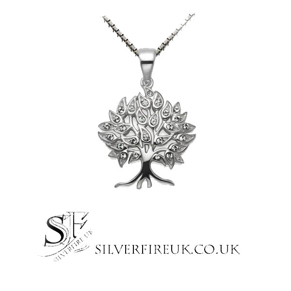 tree of life necklace zirconia crystal