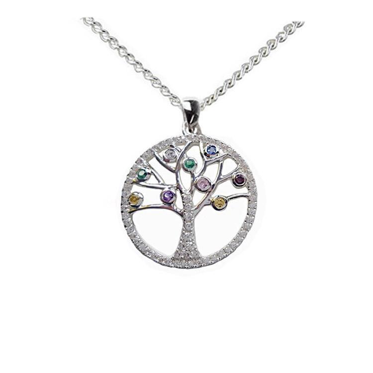 Tree of life necklace colour gemstones