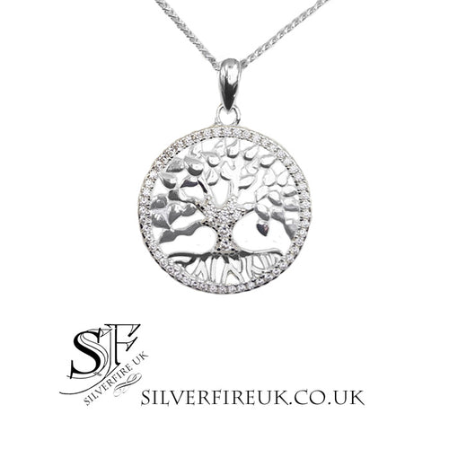 Tree of life necklace crystal circle