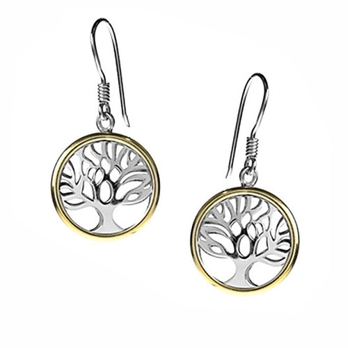 Tree of Life Gold Hoop Earrings