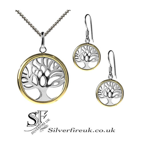 Tree Of Life Jewellery Set, Silver & Gold Tree Of Life