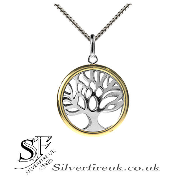 Tree Of Life Necklace, Silver & Gold Tree Of Life
