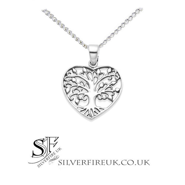 2d543b4335 Tree Of Life Necklace Within Silver Heart, Tree of life Jewellery UK –  SilverfireUK. }