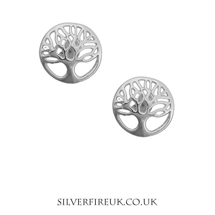 tree of life earrings, silver
