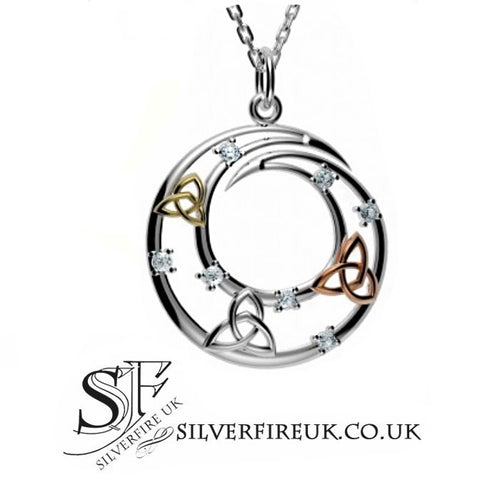 Tri Trinity Necklace, Silver & Gold Trinity